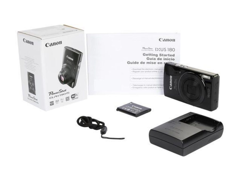 product photo of Canon PowerShot ELPH 190 IS 20.0 MP Compact Digital Camera - 720p - Black with box, manual, battery and charger