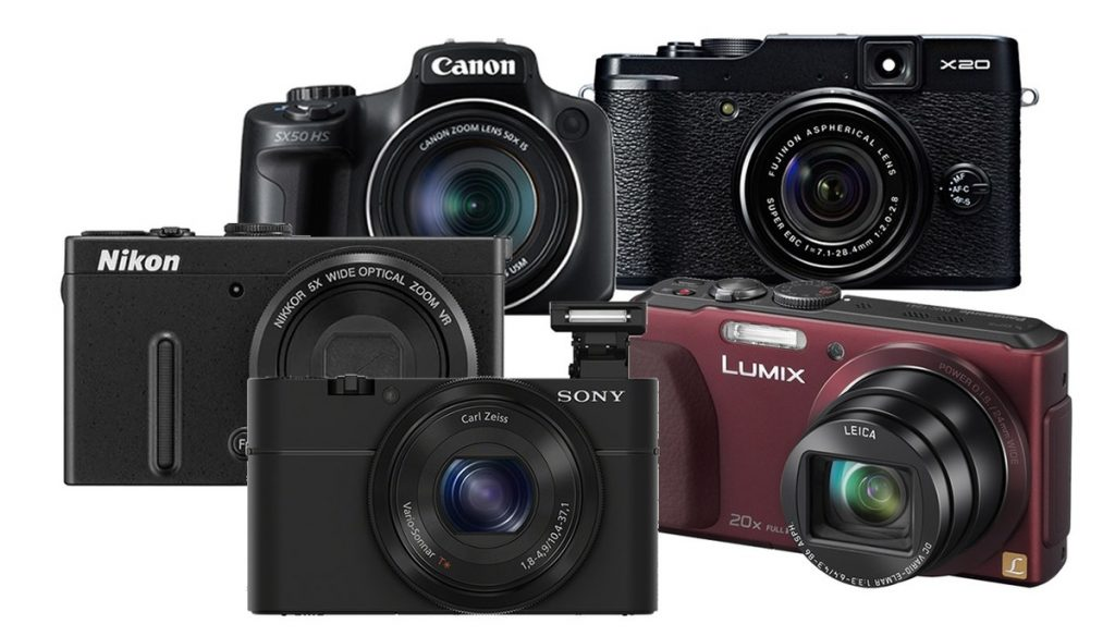 combined product photos of DSLR and point and shoot cameras
