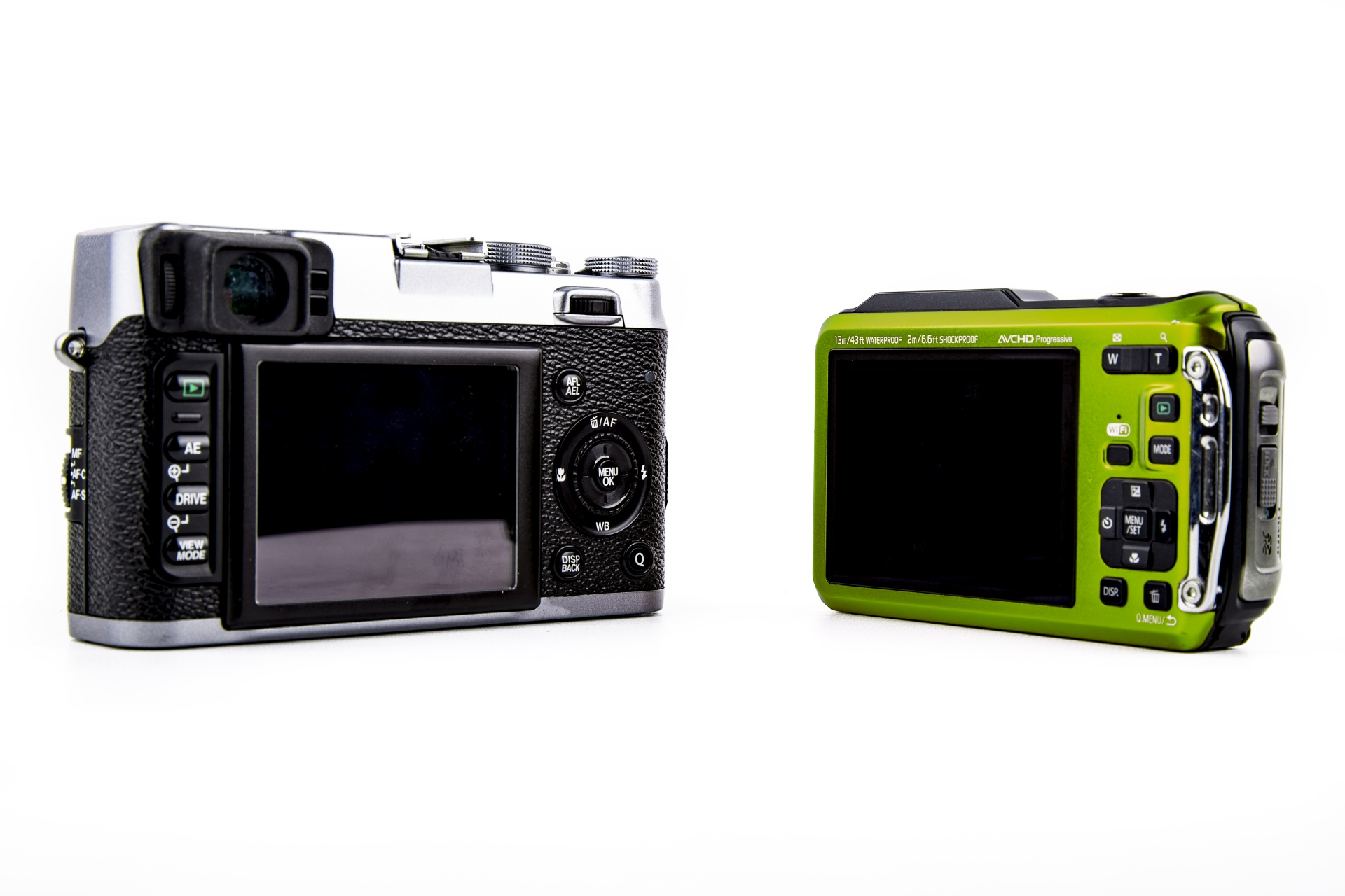 photo showing the back of the DSLR and point and shoot cameras