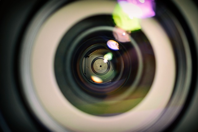 close-up photo showing lens aperture of a camera