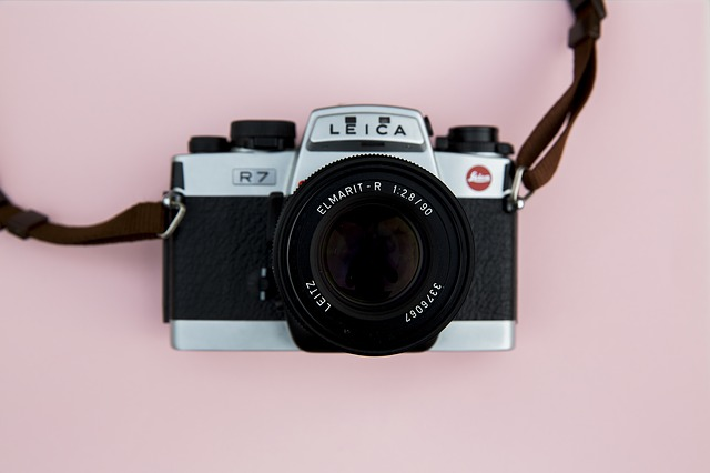 camera with pink background